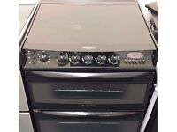 Cannon 60cm double oven and grill gas cooker in black