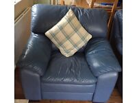 Real leather armchairs x2 and storage footstool in blue. great condition