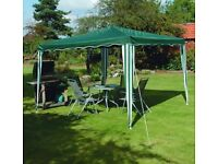 3 X 3m Gazebo Party Tent Green White Stripe Outdoor Garden Patio Marquee Canopy PLUS 3 sides