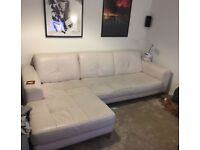 White Leather Corner Sofa - Free for collection ASAP
