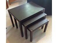 Laura Ashley leather top oak nesting tables