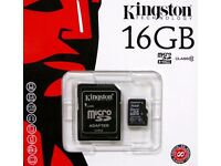 GENUINE 16GB CLASS 10 KINGSTON MICRO SDHC MEMORY CARD WITH SD ADAPTER SDC10G2/16GB