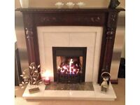 Solid Mahogany surround with marble inset and hearth Fireplace