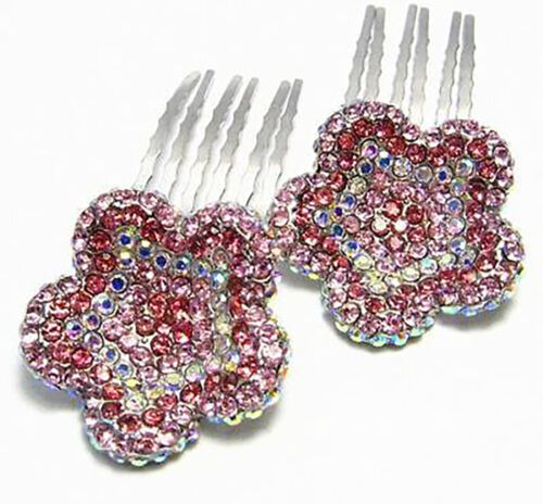 2PC DAISY PINK AUSTRIAN RHINESTONE CRYSTAL HAIR COMBS COMB BARRETTE CLIP C1160P