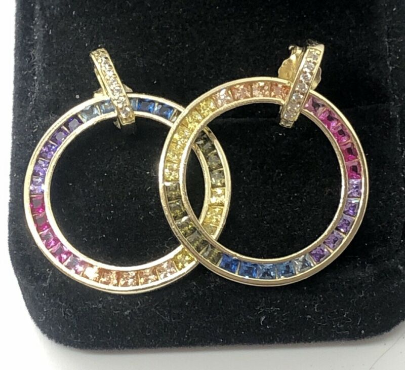 Designer Multi Color Sapphire Hoops Gold Tone Sterling Silver Earrings Signed