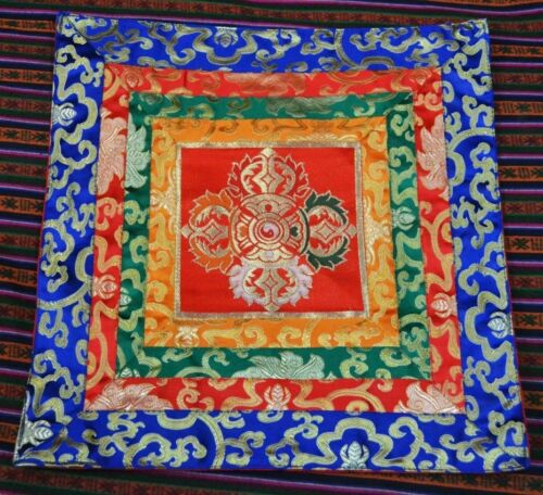 DOUBLE DORJE 15.5 X 15.5 TIBETAN BUDDHIST HAND-SEWN SILK BROCADE ALTAR CLOTH