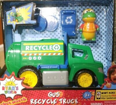 Ryans World Gus' Recycle Truck, Gus Figure disc launcher, Toy Review, NEW (Remote Control Recycle Truck)