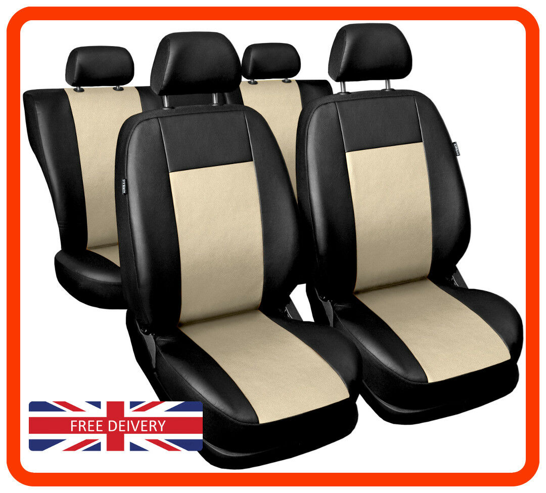 Eco-leather black//beige Leatherette car seat covers fit MITSUBISHI PAJERO