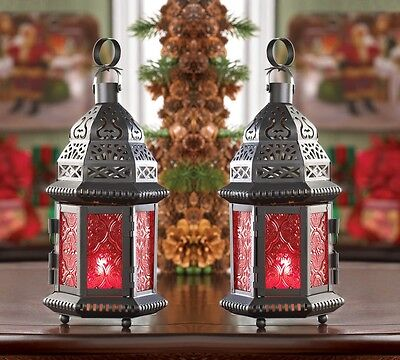 2 RED Moroccan Candle holder 10