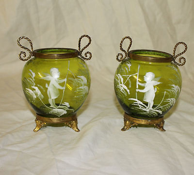Pair of Antique Mary Gregory Light Green Posy Jars or Small Vases