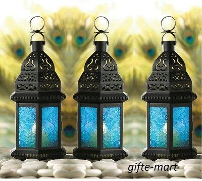 3 small peacock BLUE Moroccan Candle holder Lantern light wedding centerpiece - Peacock Candles
