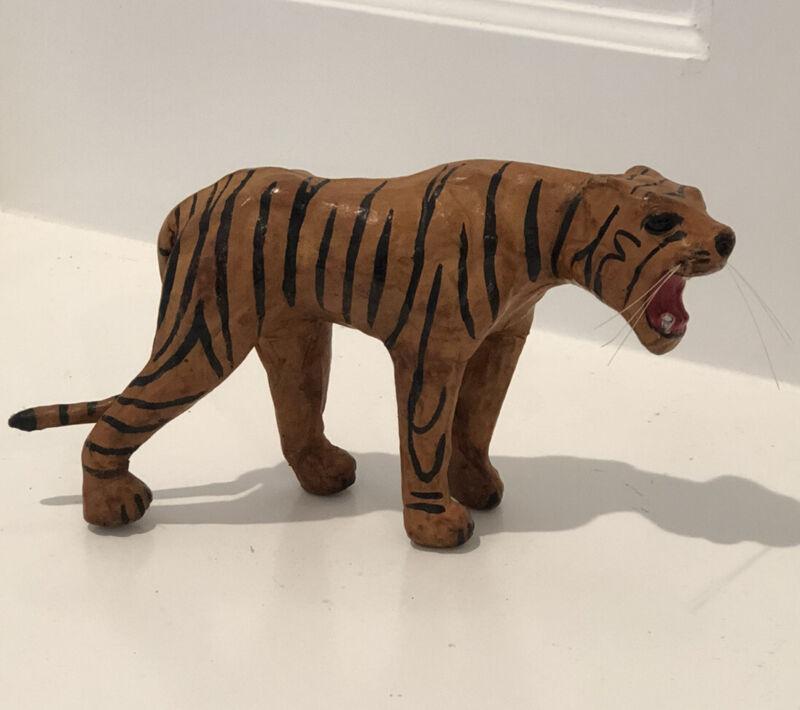 "Vintage Handmade Leather Covered Tiger  Figurine / Statue - 7"" L / 4"" H"