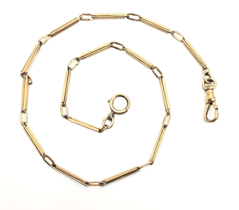 Vintage Victorian Art Deco Yellow Gold Filled Detailed Link Pocket Watch Chain