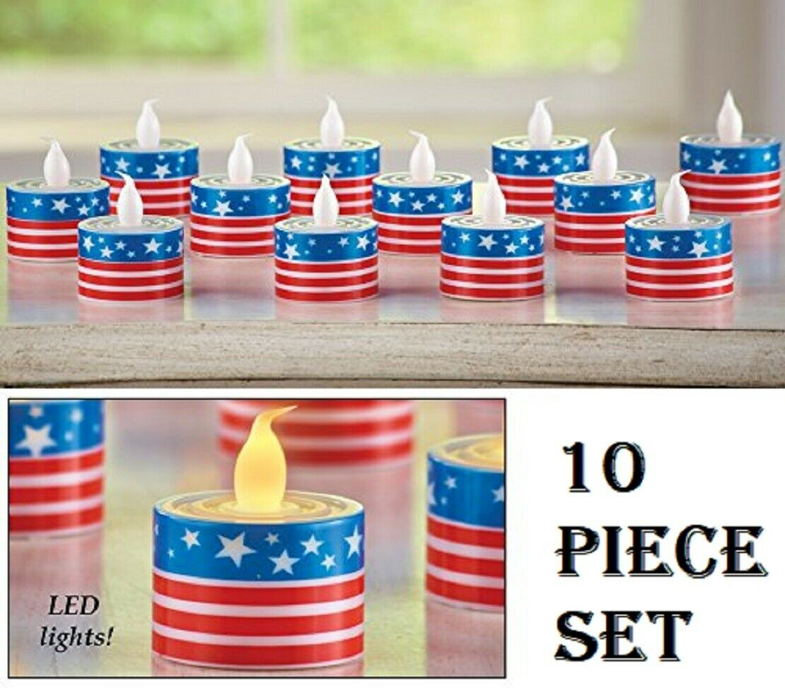 Patriotic Flag LED Tea Light Candles Set of 10 Battery Operated LED High Quality Candles