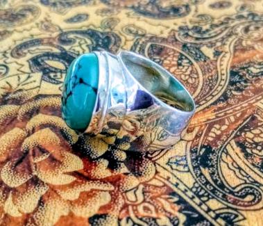 Arizona Turquoise Gemstone Ring, Size 7 US, Sterling Silver, NEW!