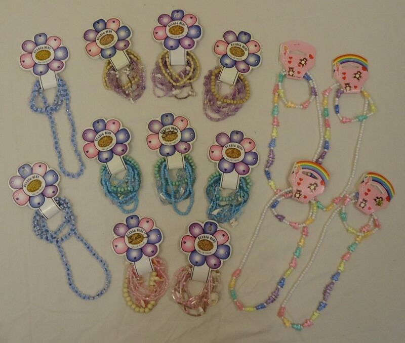 Elastic Bracelets Necklaces Qty 14 Sets Shell Wood Plastic