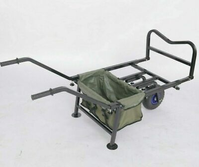 Fishing Trolley Barrow Beach Cart Folding Transport With Carry Bag Solid Wheel