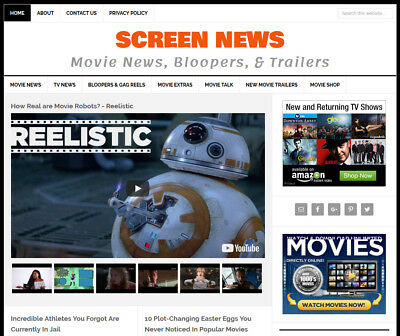 New Design Movie Tv News Website Business For Sale W Automatic Content