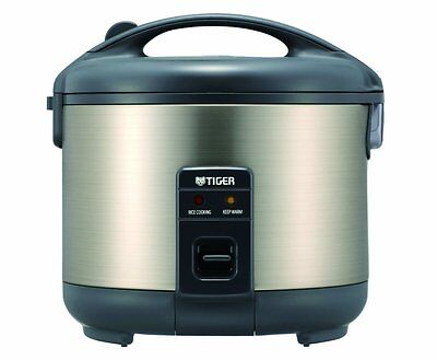 Tiger JNP-S18U-HU 10-Cup Uncooked Rice Cooker and Warmer, Stainless Grit one's teeth Gray