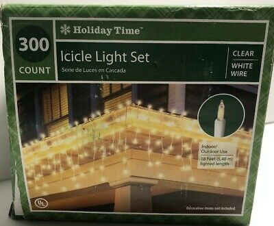 300 Count Christmas Icicle Light Set Clear White Wire Lights Holiday Time 18 ft ()