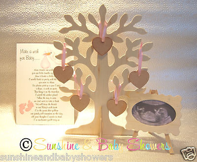 3D Wishing Tree Guest Book Wooden Heart Tags Inc Scan Easel & Poem! Baby Shower  (Wishing Tree Baby Shower)