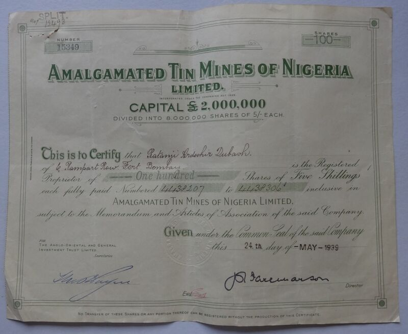 Nigeria AMALGATED TIN MINES OF NIGERIA 1939 share certificate