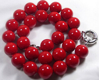 Natural Red Coral Color Shell Pearl 12mm Beads 18Inch Necklace PN1479 Color Natural Necklace Shell Beads