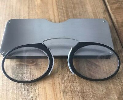 Cool Unisex Nose Clip Reading Glasses +150 Black Stainless Steel Case Flat (Flat Nose Glasses)