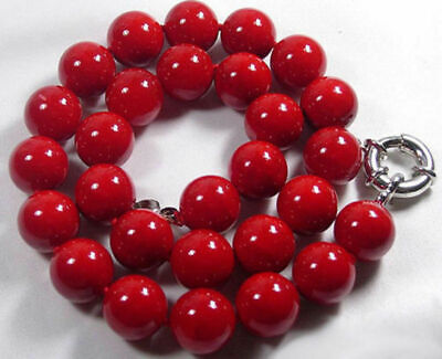 Natural Red Coral Color Shell 6/8/10mm Beads 18Inch Necklace Color Natural Necklace Shell Beads