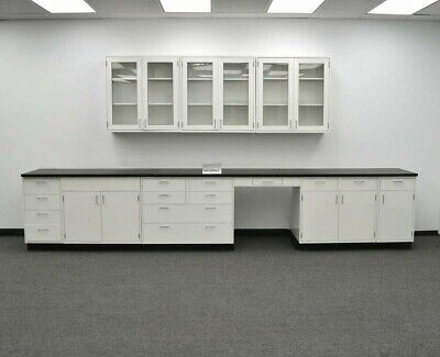 15 Base 9 Wall Laboratory Cabinets Furniture Metal Tops E1-555