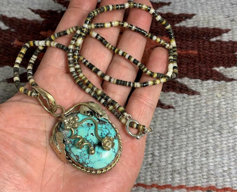 high grade black lip shell heishi/Nevada turquoise pendant necklace/(w305u-w1.5)