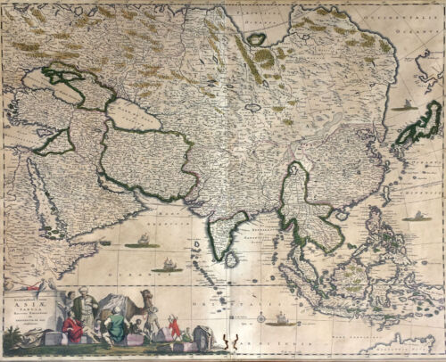 "C. 1680 Map of Asia by Frederick De Wit ""Accuratissma totius Asia Tabula..."""