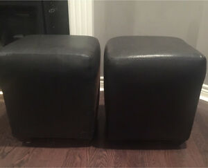 Faux Leather Cube Ottoman