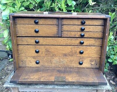 Vintage 8 Drawer Moore & Wright Wood Engineers Tool Box Collectors Craft Cabinet