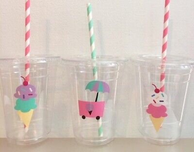 Ice Cream Cone Party Cups SET OF 12 With Lids/Straws Birthday