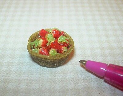 Miniature Wicker Basket of Strawberries for DOLLHOUSE Miniatures 1:12 Scale Handcrafted Wicker Resin