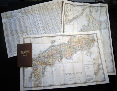 1887 MEIJII JAPAN POCKET MAP NORTHERN JAPAN SOUTHERN JAPAN INDEX TOWNS DISTRICTS