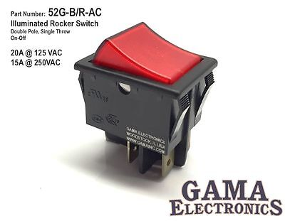 20 Amp Double Pole Single Throw On-off Illuminated Rocker Switch 120240vac