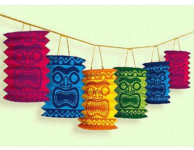 Hawaiian Tiki Paper Lantern Garland Luau Beach Party Decoration Supplies ~ 12ft