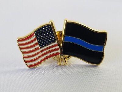 3 - American Flag/Blue Line Lapel Pins Police Patriotic USA  Blue Flag Pin