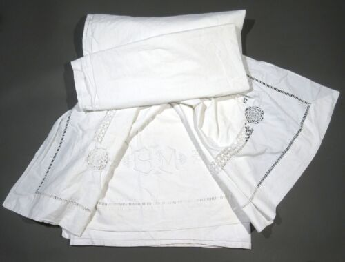 """Vintage Antique French Trousseau Sheet, Monogrammed""""B.M."""", Embroidered, Crochet"""