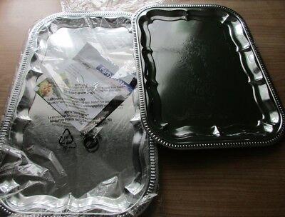 2 Partyplatten, 53 x 32,5 cm und 41 x 31 cm, Metall verchromt, Platte Wurst Käse