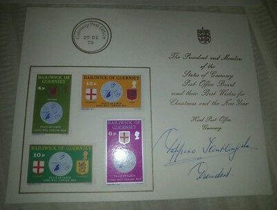 STAMPS BAILIWICK OF GUERNSEY X 4 & CARD SIGNED BY PRESIDENT OF POST OFFICE BOARD