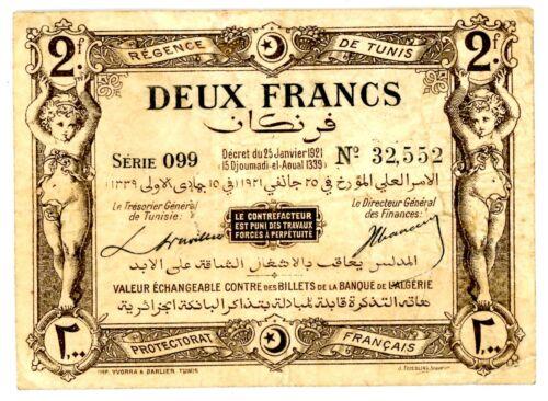 Tunisia ... P-53 ... 2 Francs ... 25.1.1921 ... *VF*