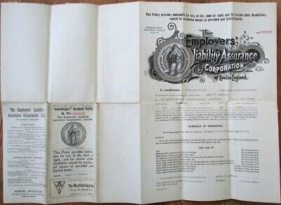 Insurance 1918 Policy on Westfield, NJ Housewife to Husband for $20, 000