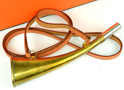 Authentic HERMES Vintage Antique Leather Strap Fox Hunting Horn + Box 1996 RARE