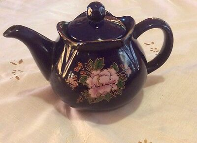 Vintage Cobalt Blue Porcelain Tea Pot Pink Peony Floral Pattern 4 Cups