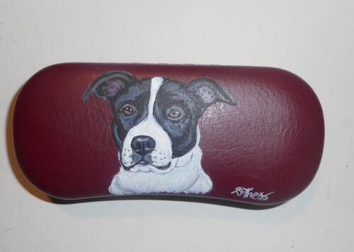Pit Bull Terrier Dog Hand Painted Eyeglass Glasses Burgundy Case