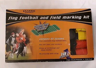 Flag Football & Field Marking Kit 10 Player Belt Flags Cone Markers Carry Bag
