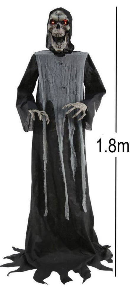 Halloween Grim Reaper Swaying 6 foot Lifesize Animated LED Sensor Activated Prop